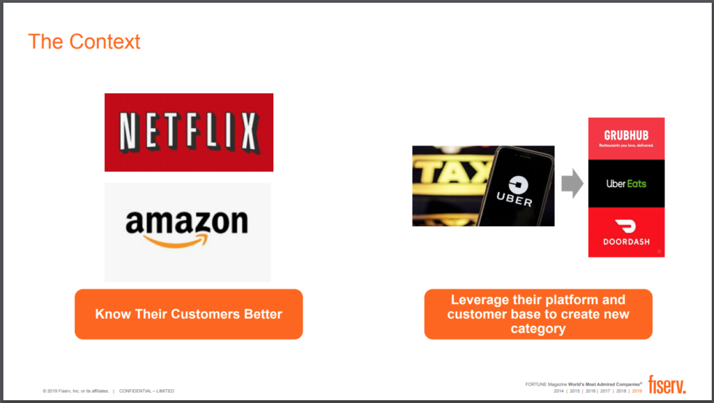 Netflix, Amazon, and others are setting consumer expectations, says Pandey of Fiserv.