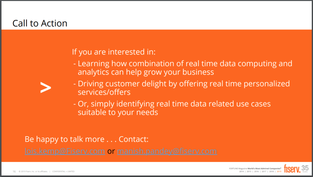 Reach out to Fiserv to learn more, including how they use SingleStore.