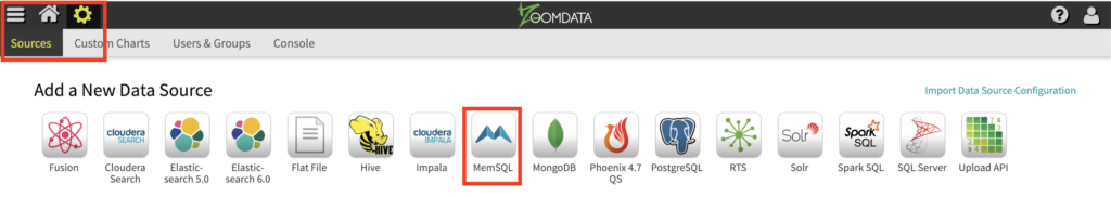 Choose the fast SingleStore database from Sources in Zoomdata