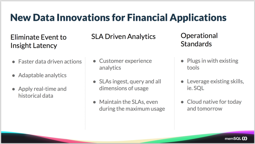 Data innovations needed for financial applications - SingleStore