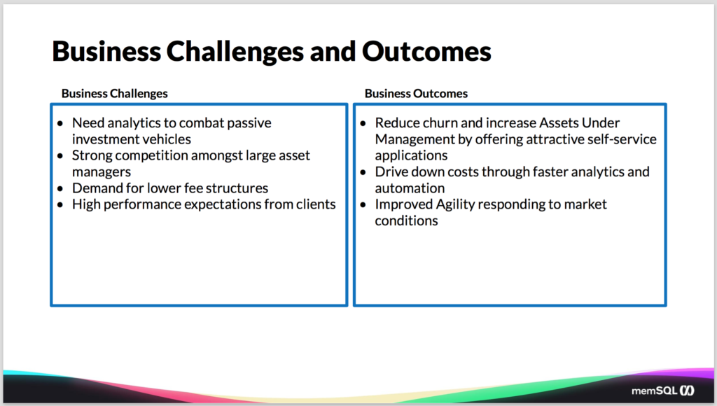 Business challenges and outcomes for database technology